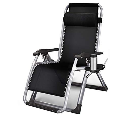 nonbrand Duty Zero Gravity Chair Lounger Reclinabile Pieghevole Regolabile Portatile Ufficio Patio Campeggio Sport all'Aria Aperta con Gambe quadrate e Supporto portabicchieri 330 LBS, Nero