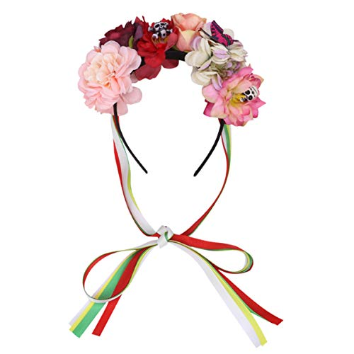Lurrose Corona de Halloween Rosa Diadema Floral Vintage Día de los Muertos Corona Gótico Floral Diadema Cráneo Accesorios para el Cabello