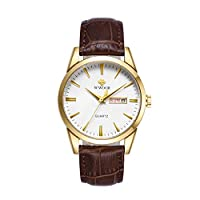 商品メンズウォッチ本革時計バンドカレンダーウィークォーツ腕時計 (カラー 2)