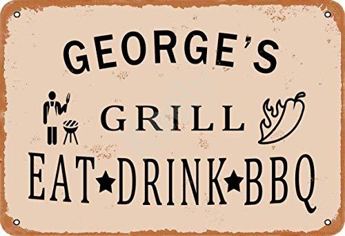 none_branded George'S Grill Eat Drink BBQ Cartel de Chapa Metal Advertencia Placa de Chapa de Hierro Retro Cartel Vintage para Dormitorio Pared Familiar Aluminio Arte Decoración