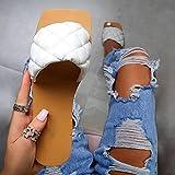 ypyrhh Chanclas Slider para Hombre Sandalias,Sandalias Tejidas Planas,Zapatos de la Palabra Playa-Blanco_36,Hombre Chanclas Suela