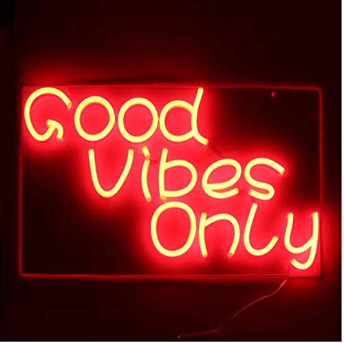 Yhhzw Good Vibes Only Led Neon Sign Light Bar Club Wall Decor Led Tube Visual Artwork Party Decoration Neon Lamp Home Night Light