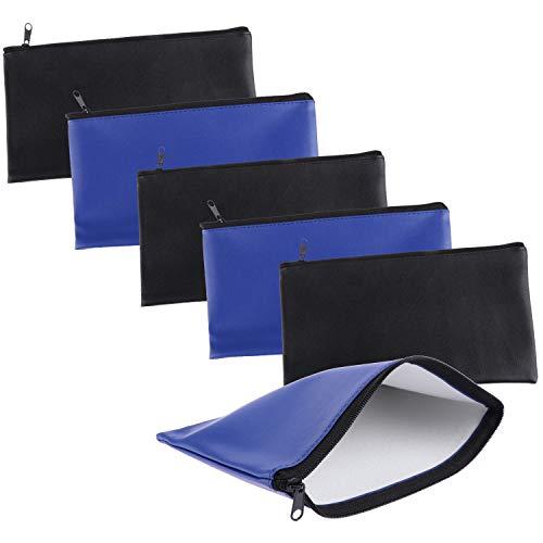 Xgood 6 Pieces Bank Deposit Money Bag Leatherette Securit Vinyl Zipper Pouches Wallet Utility Zipper Coin Bags for Cash Money, 11x6in (Black+Blue)