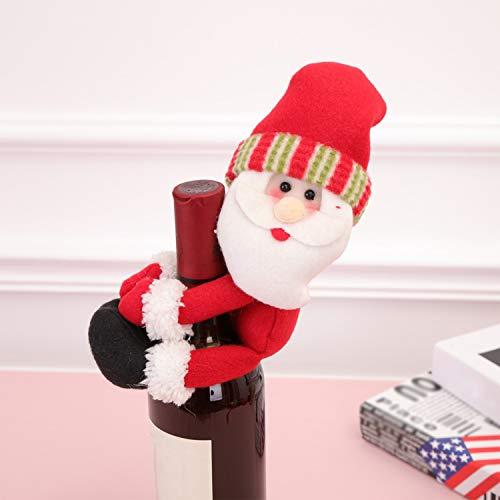 Sunydog Mini cubierta de botella de vino de Navidad Porta botellas de vino Mini cubierta de botella de vino de Santa Decoración de mesa Regalo Día de Acción de Gracias Festivales Festivos Decoración d