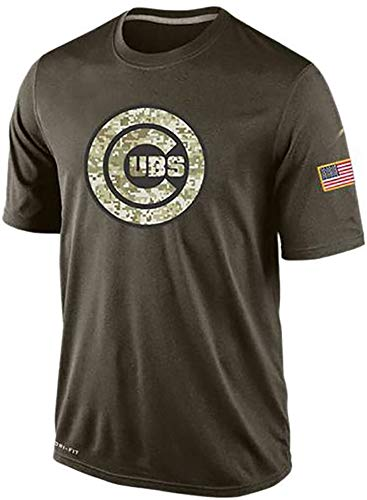MEIMEI Herren T-Shirt mit Chicago Cubs Logo 3D Design MLB Sportswear Fan Trikots Lovers Kurzarm Unisex XL