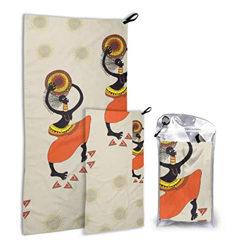 N\\A African Woman Tribal Vintage 2er Pack Mikrofaser Strandtuch Teen Camping Handtuch Set schnell trocknend Am besten für Gym Travel Backpacking Yoga Fitnes
