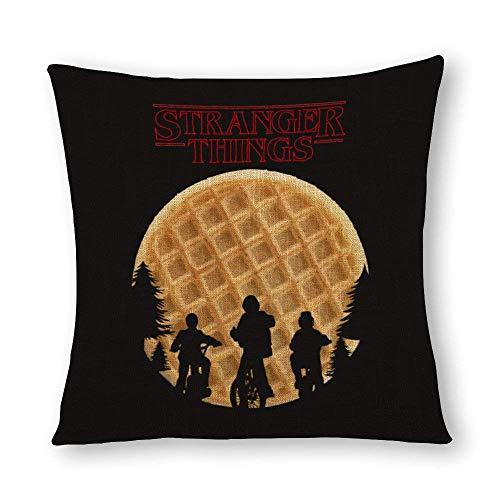 Fundas Almohada Lino algodón Decorativas OneMtoss Stranger Things Waffle Square 16 X 16 Pulgadas para el hogar, la Oficina, el...