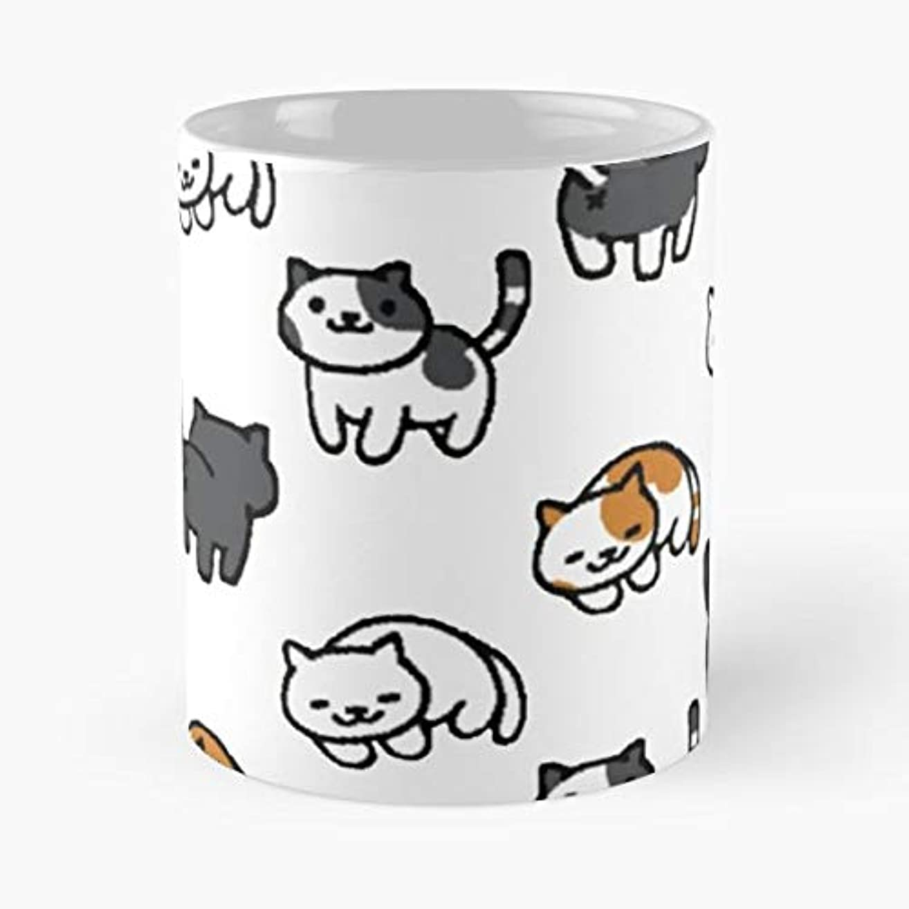 Neko Atsume Cats Kittens -funny Gifts For Men And Women Gift Coffee Mug Tea Cup White-11 Oz.