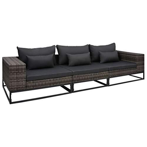 vidaXL Garten Sofagarnitur 3-TLG. mit Auflagen Gartensofa Lounge Sofa Ecksofa Gartenmöbel Rattansofa Mittelsofa Couch Poly Rattan Grau