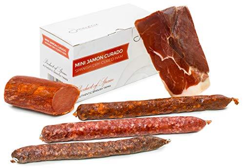 Szynka Serrano Dojrzewająca bez Kości 1 Kg + Lomo (Schab Wieprzowy) Duroc Naturalny 250 g + Chorizo Riojano 200 g + Kiełbasa Salchichón 200 g + Fuet 150 g – Hiszpańska Szynka Jamon Serrano Jamonprive