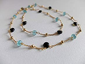 Beautiful Apatite and Black Tourmaline Necklace,Gold FilledFilled Filled Necklace,Neon Blue Apatite,Black Tourmaline Heart Shaped Gemstone Necklace 5-6 mm by Gemswholesale