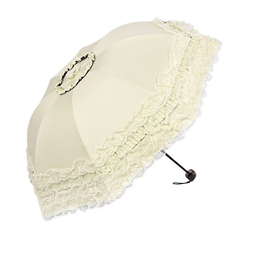 Heart Princess Lace Windproof Folding Sunny and Rainy Umbrella Ultraviolet-Proof Anti Sun UV Protection Parasol Umbrella (Milk White)