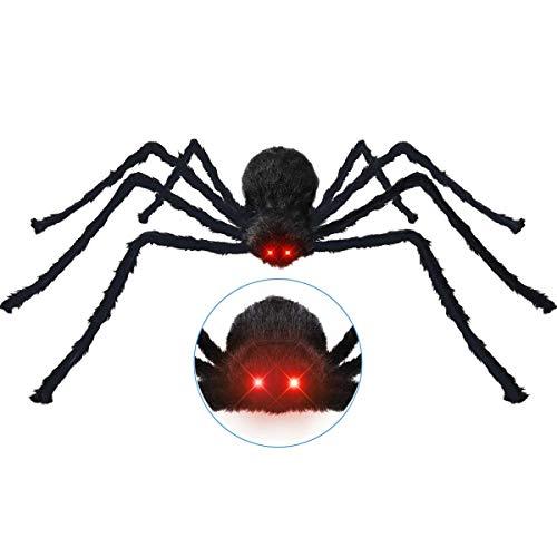 Halloween Dekoration inkl. 125cm großer haariger Spinne mit leuchtenden Augen, gruseligen Geräuschen + 20 mini Spinnen + Spinngewebe, Halloween Horror Deko Garten draußen Halloween Requisiten