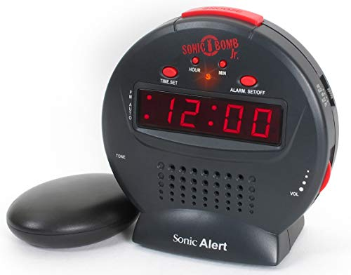 Sonic Alert Junior Sonic Bomb Extra Loud Alarm Clock with vibrating shaker pad- UK Version