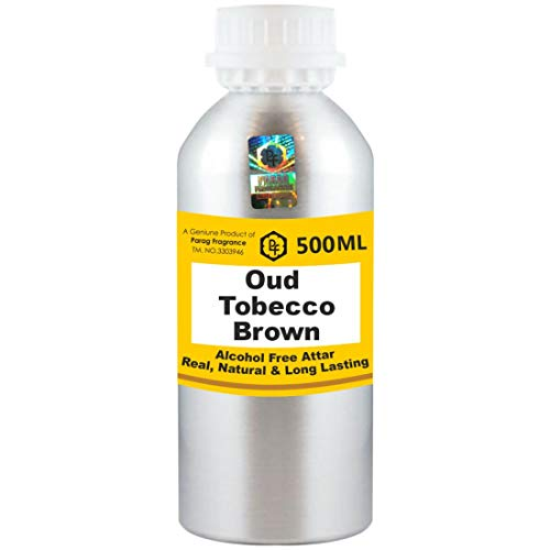Parag Fragrances Oud Tobecco Brown Attar 500 ml Attar (Sans alcool, Attar de longue durée pour hommes - femmes et usage religieux) Worlds Best Attar | Itra | Huile parfumée | Parfum