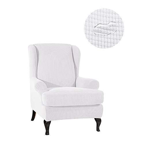 GEBIN Jacquard Sesselbezug, Sessel-Überwürfe Ohrensessel Überzug Bezug Sesselhusse Elastisch Stretch Husse Für Ohrensessel (Weiß)