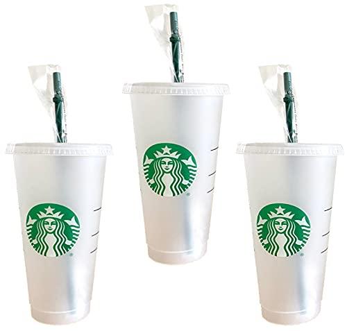 Starbucks Venti - Taza reutilizable para bebidas frías con tapa y pajita verde con tapón