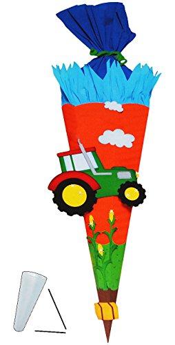 alles-meine.de GmbH BASTELSET Schultüte -  Traktor & Bauernhof  - 70 / 85 cm - mit / ohne Kunststoff Spitze - Zuckertüte - Set zum selber Basteln - 6 eckig / orange - Jungen - ..