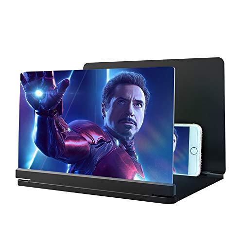 14 Pulgadas para Todos Los Teléfonos Inteligentes, Una Lupa De Pantalla 3D De Alta Definición para Películas, Videos y Juegos, Regalos De Alta Tecnología para Hombres (Negro) (Negro Plus)
