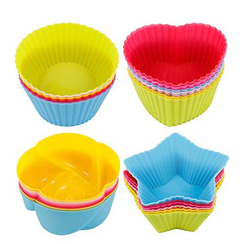 Opopark 24 Pezzi Stampi per Muffin in Silicone Pirottini da Forno Riutilizzabili per Fai da Te Muffin e Cupcake