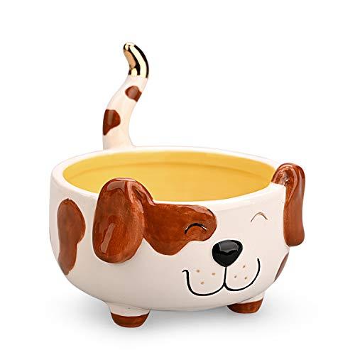 Plato para baratijas, cuenco de cerámica duradero para joyas, con forma de perro, soporte...