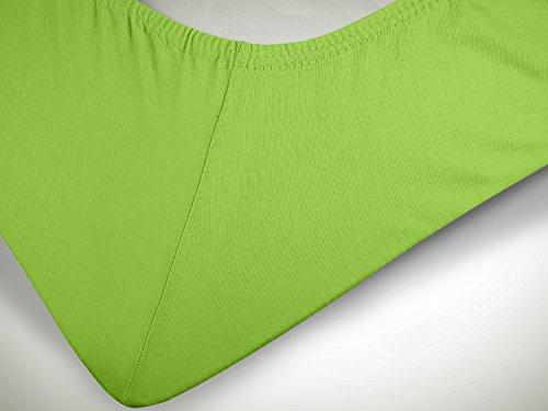 npluseins klassisches Jersey Spannbetttuch – erhältlich in 34 modernen Farben und 6 verschiedenen Größen – 100% Baumwolle, 70 x 140 cm, apfelgrün - 6