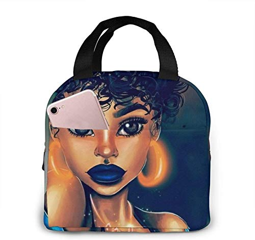 Afro Girl African American Girl Bling Earrings Lunch Bag Insulated Durable Lunch Bag Reusable Lunch Tote Cooler Bag Lunch Organizer Kids