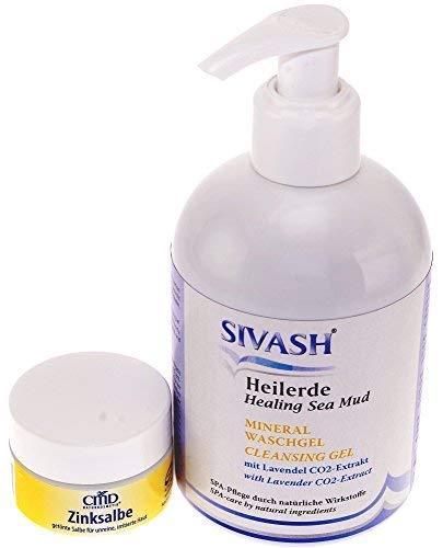 Pflegeset für unreine, fettige Haut: SIVASH-Heilerde Mineral Waschgel 270ml + Teebaumöl Heilerde Zinksalbe 15ml