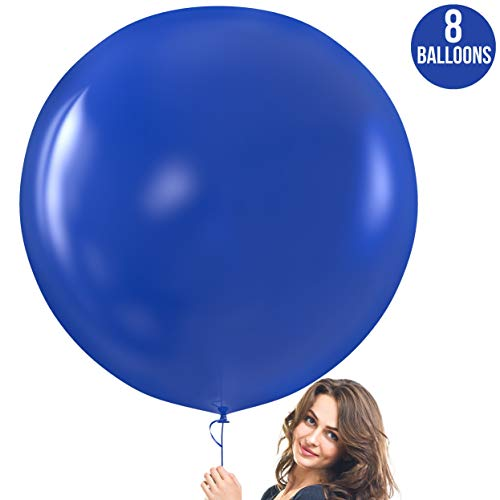 Prextex Blue Giant Balloons - 8 Jumbo 36 Inch Blue Balloons for Photo Shoot, Wedding, Baby Shower, Birthday Party and Event Decoration - Strong Latex Big Round Balloons - Helium Quality