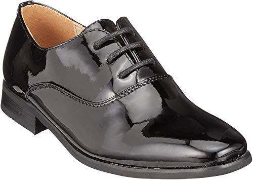 Goor - Zapatos de Charol Modelo Oxford niños- Boda/Fiesta/Comunión (34 EUR) (Negro Charol)
