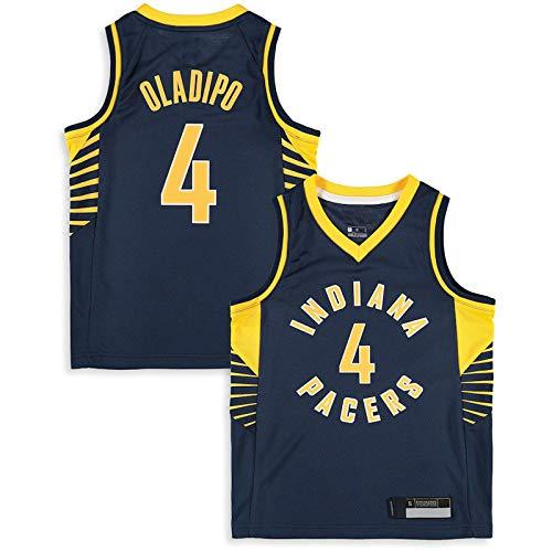 Basketball Trikot 4# Kinder Teenager Basketball Auswärts Trikot Pacers Victor Oladipo Indiana Uniform Ärmellose Weste Tops - Marine