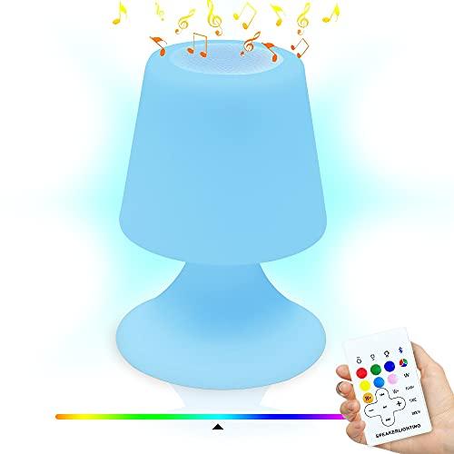 Lampada da tavolo con altoparlante Bluetooth, luce notturna portatile ricaricabile RGB, dimmerabile, 22 tasti, telecomando senza fili, impermeabile, per camera da letto, soggiorno, cortile, giardino