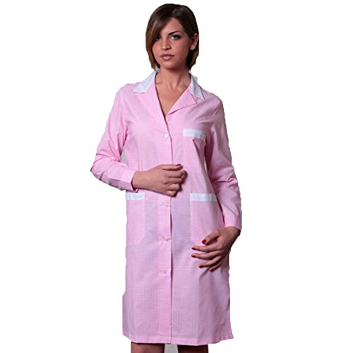Fratelliditalia Grembiule Scuola Pulizia Divise da Donna Hotel per Asilo Cucina Cameriera, Pink, 48