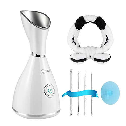 Facial Steamer - Surwit Nano Ionic Face Steamer Deep Cleaning SPA Humidifier, for Skin Moisturizing Cleansing Pores, With Blackhead Remover Kit, Hair...