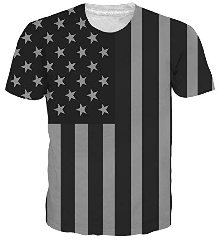 Unisex 3D Printed Summer Casual Short Sleeve T Shirts Top Tees S-XXL Usa Flag XL