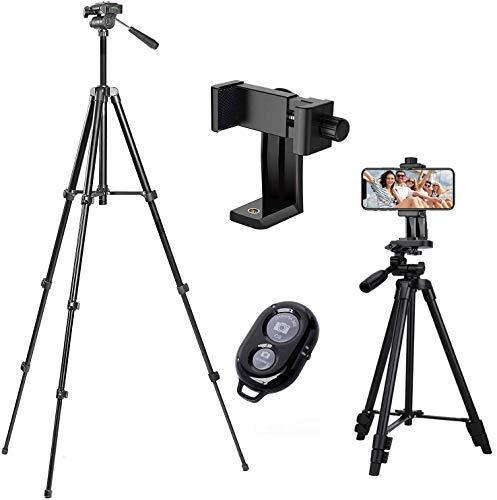 Handy Stativ Smartphone Stative Leichtes Kamera-Dreibeinstativ Ständer Lightweight Tripod für iPhone/Samsung/Huawei Halter Halterung Stativbeine (42 inch)