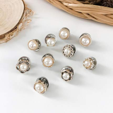 20Pcs Sweater Shawl Clips Rhinestone Crystal Brooch V Neck Lapel Pins, Cardigan Corsage Safety Pin Safety Buckle Buttons Metal Tie Tacks Pin for Clothes Hat Decorate (Pearls Suit)