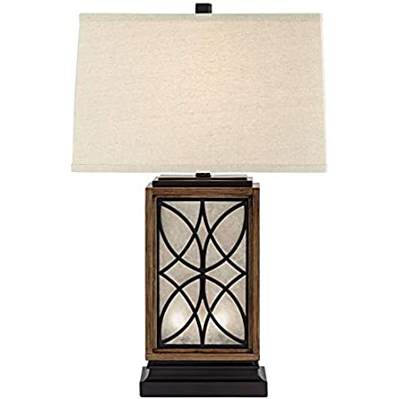 Arthur Rustic Farmhouse Table Lamp with USB and AC Power Outlet in Base LED Nightlight Bronze Rectangular Oatmeal Shade for Living Room Bedroom Bedside Nightstand Home Office - Franklin Iron Works