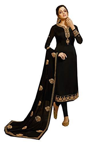 Delisa New Indian/Pakistani Bollywood Party/Wedding wear Salwar Kameez/Salwar Suit for Women LT S5 (Black, 3X-Plus)