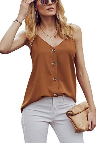 "Ancapelion Damen Sommer Bluse à""rmellose Chiffon Top V-Ausschnitt Shirt Elegant Weste Hemdbluse Loose fit T Shirt mit Trägern, Orange, M(EU 38-40)"