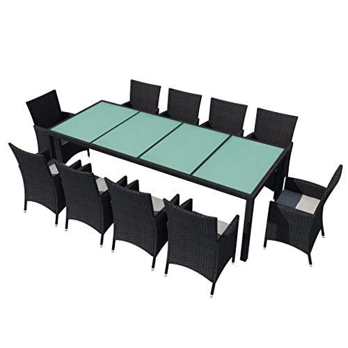vidaXL Salon de Jardin et Coussins 11 pcs Mobilier à Dîner Table et Chaises de Salle à Manger Meubles de Patio Extérieur Résine Tressée Noir