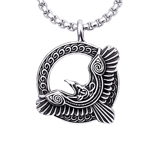 HAQUIL Raven Necklace, Celtic Raven in Flight Medallion Pendant, Box Chain, Raven Jewelry Gift