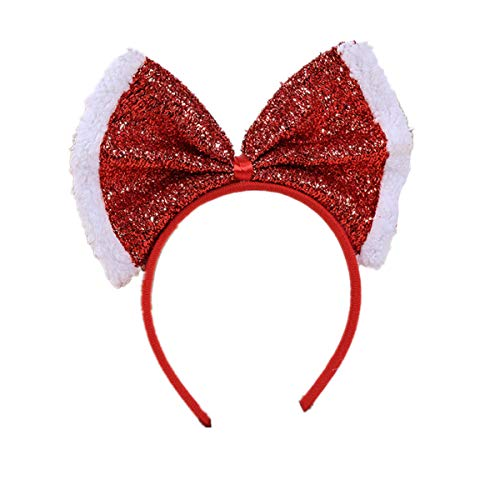 WINZIK Christmas Headwear Gingerbread Man Striped Bowknot Hair Hoop Cute Headband Xmas Holiday Party Supplies Gifts (Red Bow 2#)