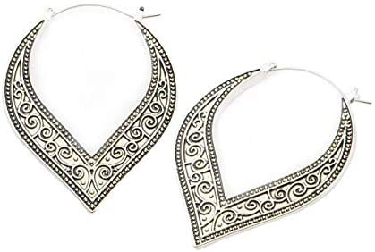 Antique Lace Swirl Plug Hoop Earrings, Sold as a Pair