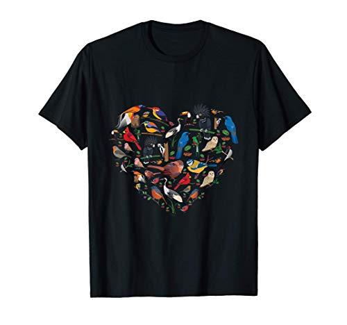 Birds lover heart Bird Watching men women kids T-Shirt