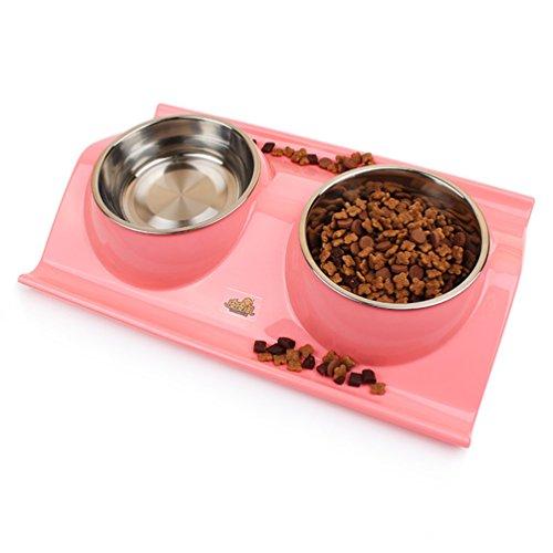 UMALL Trendiger Schlichter Melamin-Doppelnapf mit integrierten Edelstahlnäpfen Hundenapf Katzennapf Futternapf Wassernapf Hochwertige Schüssel Welpennapf (Pink)