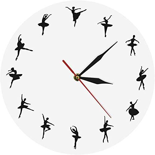 Orologio da parete Personalizzato Ballerina Dancer Orologio Danza Ragazza Silhouette Orologio Da Parete Unico Iconico Orologio Moderno Decorazione Della Casa 30X30Cm
