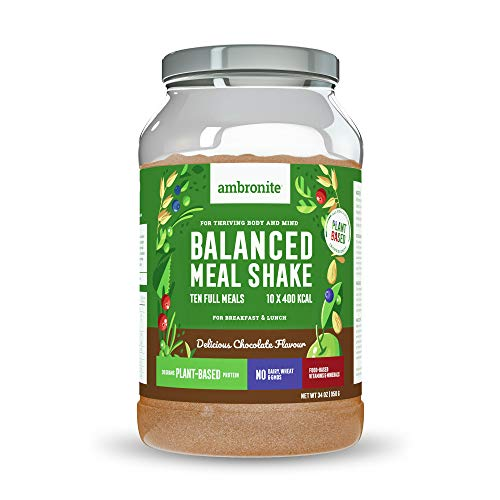 Ambronite Balanced Meal Shake, Chocolate Flavor, Makes Ten Full 400 kcal Meals, 20 Grams of Plant-Based Protein, No Dairy, Wheat, or GMOs, 34oz