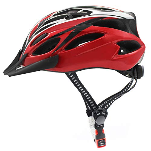 Bicycle Helmet, Adjustable Lightweight Cycling Helmet Unisex, Road and Mountain Fahrradhelm with Detachable Visor (Rot + Schwarz)