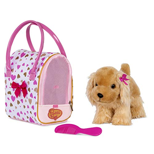 Pucci Pups by Battat Gold & Pink Heart Print Glam Bag w/Cocker Spaniel, 8 inches